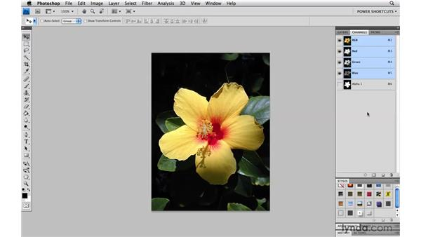 Loading selections from channels with the keyboard: Photoshop CS4 Power Shortcuts