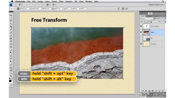 Everyday modifiers for Free Transform: Photoshop CS4 Power Shortcuts