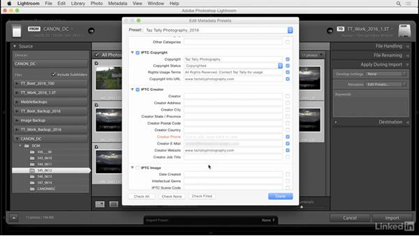 Create and apply metadata presets: Lightroom: Customizing Tips and Techniques