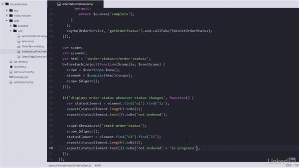 Displaying information with a directive (from the service): Learning AngularJS Testing