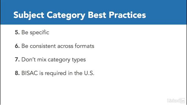 Subject categories: Best practices and practical application: Learning Metadata for Book Publishing