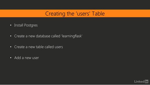 "Creating the ""users"" table: Learning Flask"