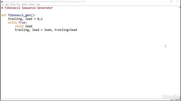 Solution: Fibonacci sequence fenerator: Python Generators