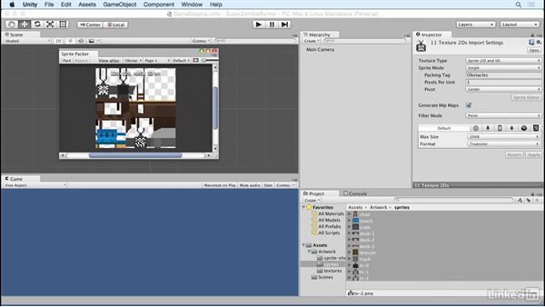 Optimize loose sprites: Unity 5 2D Essential Training