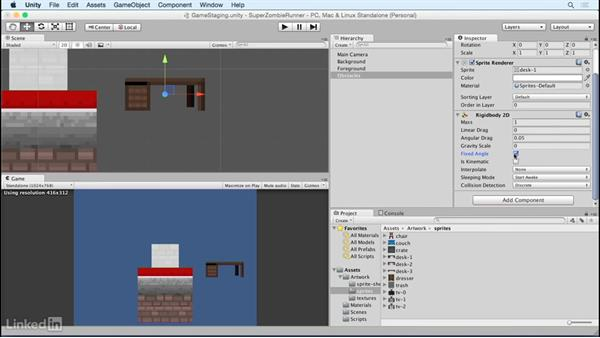 Build a reusable obstacle gameobject: Unity 5 2D Essential Training