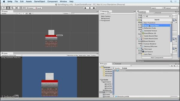 Recycle game objects: Unity 5 2D Essential Training
