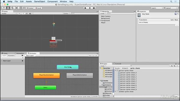 Add in a player idle animation: Unity 5 2D Essential Training
