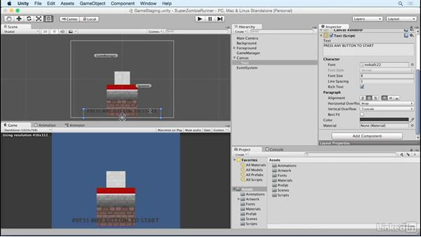 Control text with code: Unity 5 2D Essential Training
