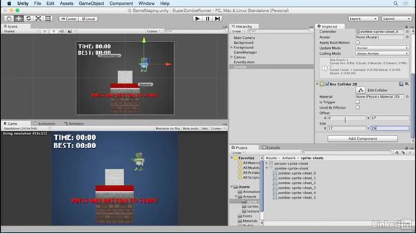 Add zombies: Unity 5 2D Essential Training
