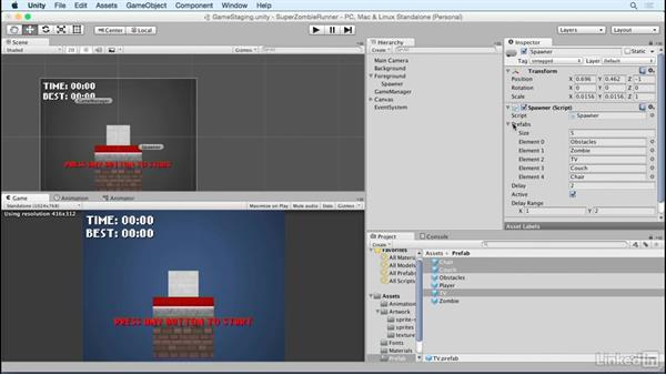 Add in animated obstacles: Unity 5 2D Essential Training
