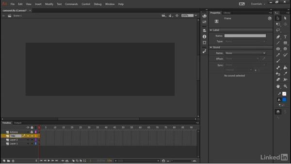 Setting up the timeline: Learn Adobe Animate CC: Data-Driven Animation