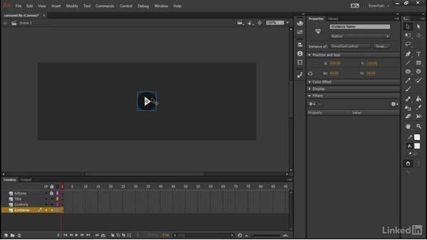 Designing the carousel controls: Learn Adobe Animate CC: Data-Driven Animation