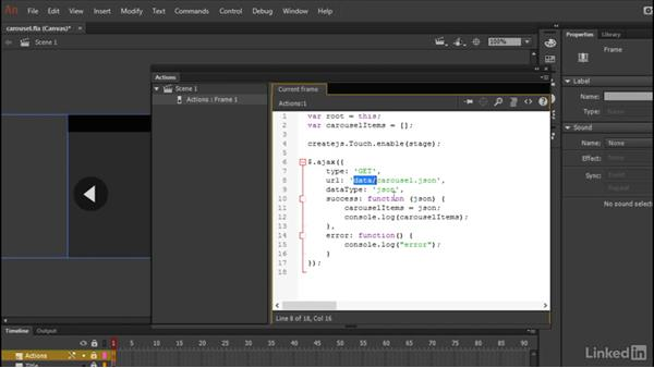 Ingesting the external data: Learn Adobe Animate CC: Data-Driven Animation