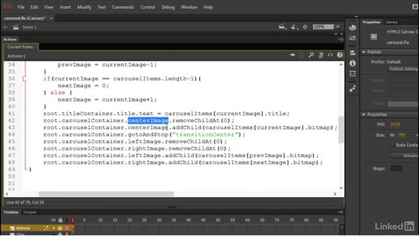 Carousel container code: Learn Adobe Animate CC: Data-Driven Animation