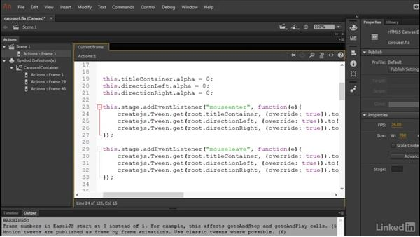 Finishing the carousel: Learn Adobe Animate CC: Data-Driven Animation