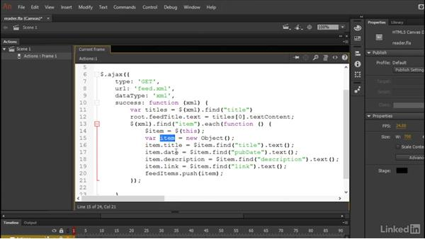 Ingesting XML data: Learn Adobe Animate CC: Data-Driven Animation