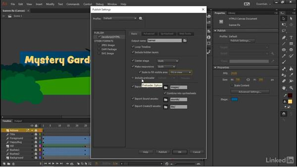 Publishing the banner: Learn Adobe Animate CC: Interactive Animation