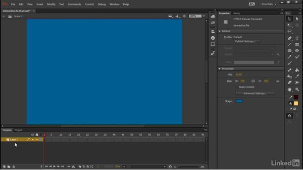 Stage and timeline configuration: Learn Adobe Animate CC: Interactive Animation