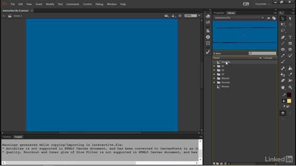 Import visuals and audio: Learn Adobe Animate CC: Interactive Animation