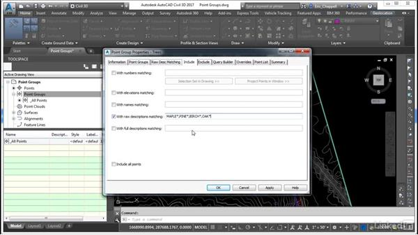 Use point groups to control the display of points: Cert Prep: AutoCAD Civil 3D Certified Professional