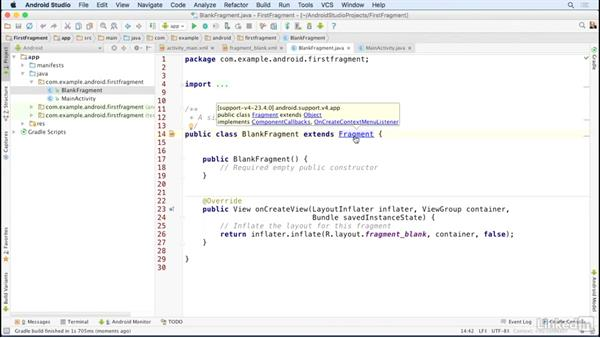 Create a fragment class and layout: Building Flexible Android Apps with the Fragments API