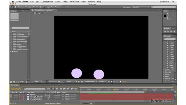 Being conscious of object weight: After Effects CS4 Beyond the Basics