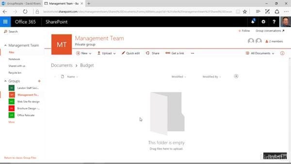 Share a file with a group: Learn Office 365 Groups: The Basics