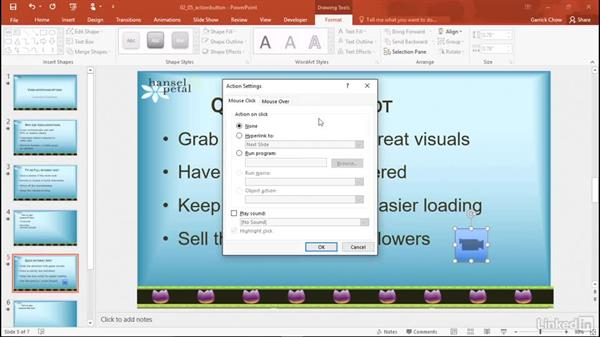 Insert a video using an action button: PowerPoint 2016: Audio and Video In Depth