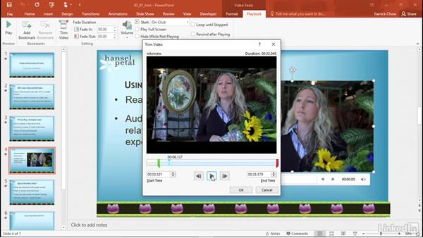 Trim a video: PowerPoint 2016: Audio and Video In Depth