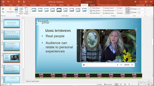 Crop a video: PowerPoint 2016: Audio and Video In Depth