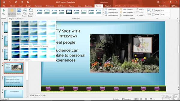 Adjust brightness and contrast: PowerPoint 2016: Audio and Video In Depth