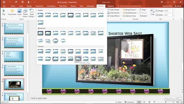 Apply a preset video style: PowerPoint 2016: Audio and Video In Depth