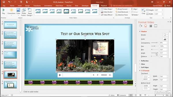 Add shadows: PowerPoint 2016: Audio and Video In Depth