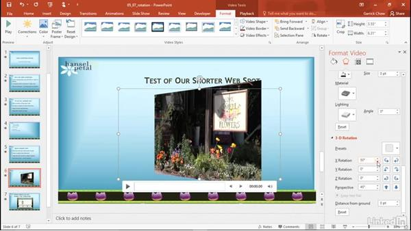 Apply a 3D rotation: PowerPoint 2016: Audio and Video In Depth
