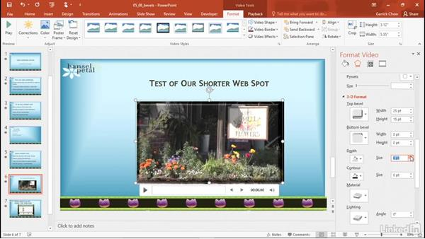 Apply bevels and 3D formatting: PowerPoint 2016: Audio and Video In Depth