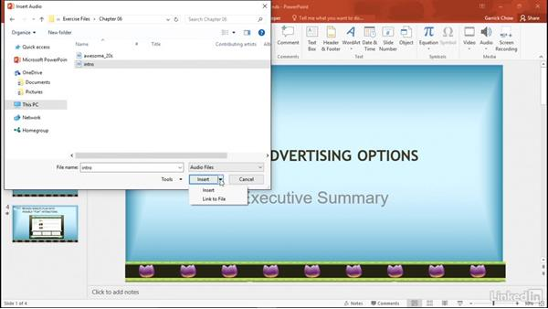 Add an audio file from your computer: PowerPoint 2016: Audio and Video In Depth