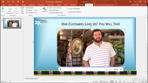 Loop a video or audio clip: PowerPoint 2016: Audio and Video In Depth