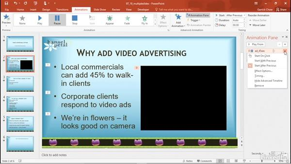 Play content across multiple slides: PowerPoint 2016: Audio and Video In Depth