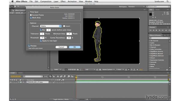 Using Auto-trace to create masks: After Effects CS4 Beyond the Basics