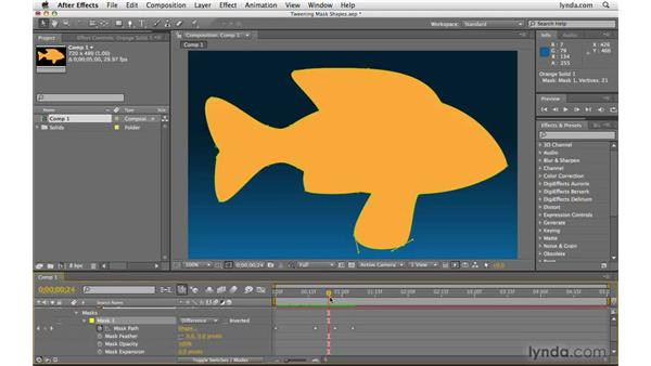 """""""Tweening"""" mask shapes: After Effects CS4 Beyond the Basics"""