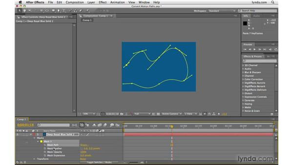 Converting motion paths to masks: After Effects CS4 Beyond the Basics