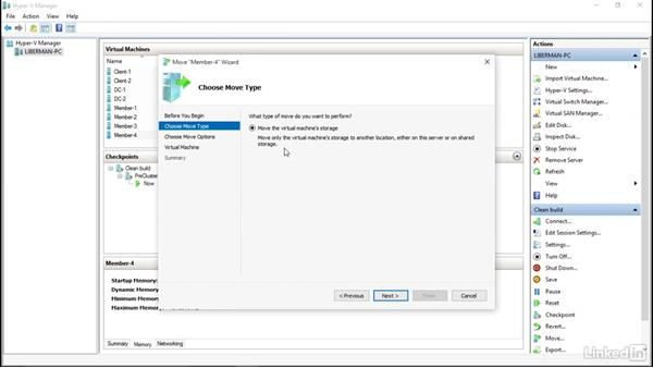 Hyper-V VM movement: Windows Server 2012 R2: Implement Business Continuity and Disaster Recovery