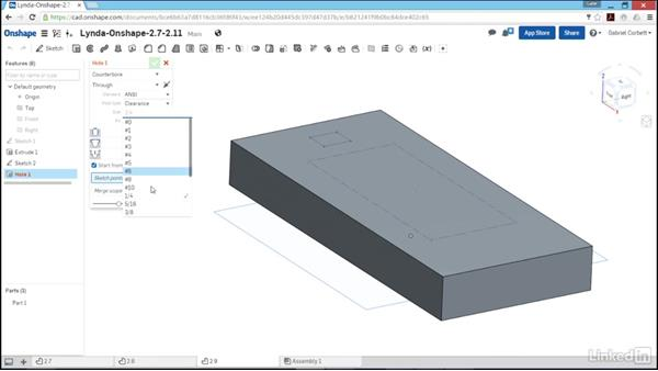 Creating holes: Learn Onshape: The Basics