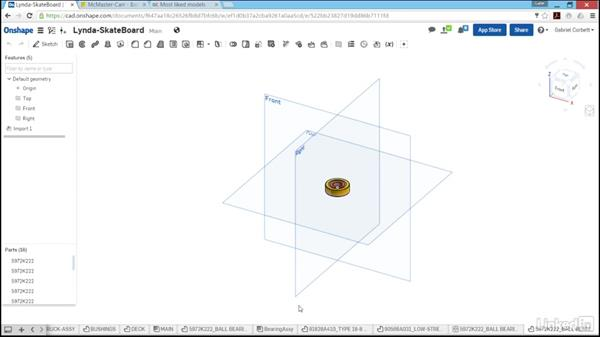 Importing parts (downloading files and 608 bearing): Learn Onshape: The Basics