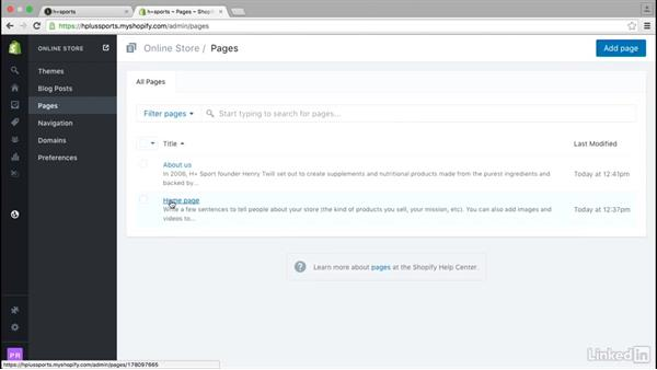 Add static pages: Learn Shopify: The Basics