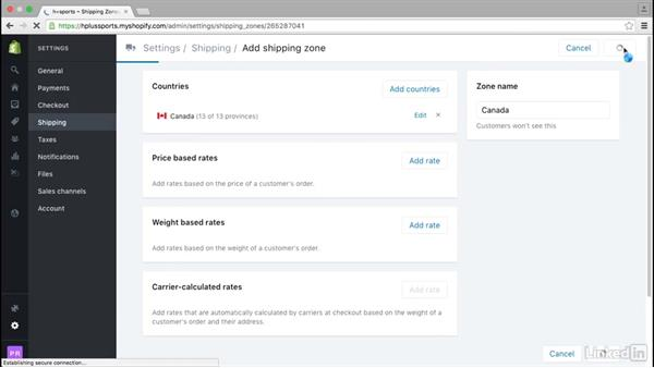 Set up flat rate shipping: Learn Shopify: The Basics