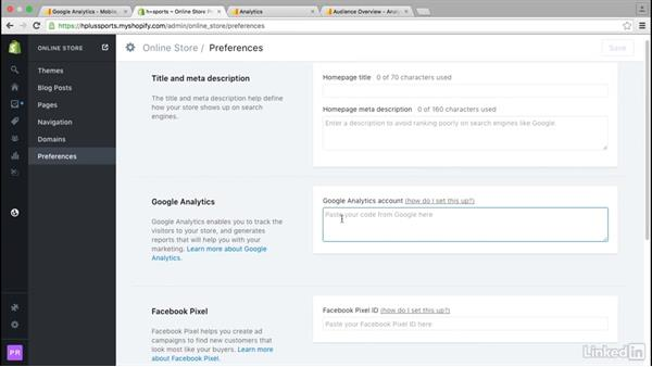 Enable Google Analytics: Learn Shopify: The Basics