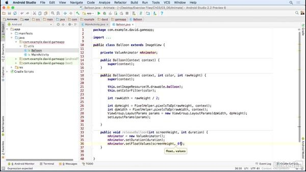 Add animation logic: Building a Game App with the Android SDK