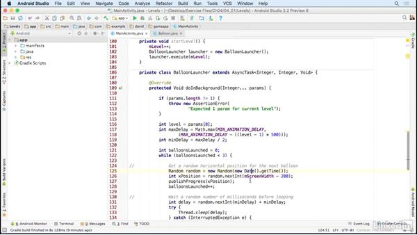 Define and manage levels: Building a Game App with the Android SDK